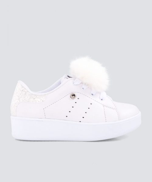 Mini PUMPS BLANCO ESCARCHADO PLATEADO