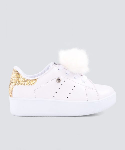 Mini PUMPS BLANCO ESCARCHADO DORADO